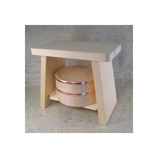 ●送料無料!【ヒバ】新型風呂椅子【大】【桧=ひのき】湯桶【銅タガ】セット