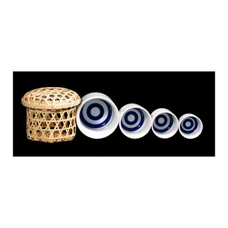The work small sake cup set of the bamboo basket case