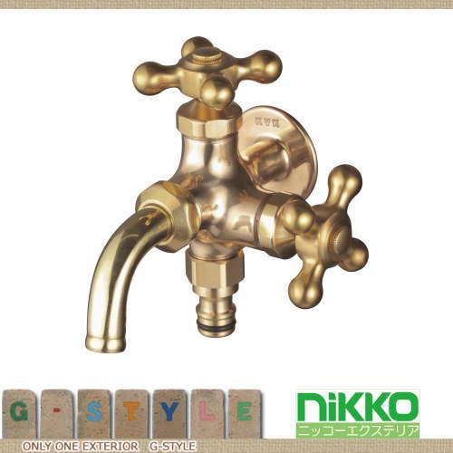 水栓柱蛇口ニッコーエクステリアHシリーズH304二口蛇口(ホースアダプター付)ゴールド(真鍮)ガーデ
