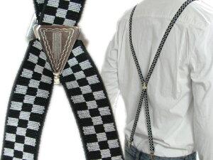 サスペンダー チェッカー ブラック ホワイト レディース