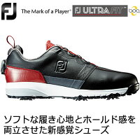 FOOTJOY(フットジョイ) FJ ULTRA FIT Boa メンズ ゴルフシューズ 54146 ブラック/レッド (W)の画像