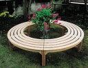 ラウンドベンチ2型(36708)(ジャービス商事)ガーデンファニチャー ガーデン家具 ガーデンベンチ ガーデンチェア 椅子 イス チーク 木製