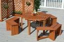 ウッディーガーデン 六角テーブル&ベンチセット WEF-150N(57116100)(タカショー)送料無料 ガーデンファニチャーセット ガーデン家具 ガーデンテーブル ガーデンベンチ ガーデンチェアー 木製