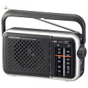 【電池節約タイプ】AM/FMポータブルラジオ(乾電池・家庭用両電源対応/ブラック)_03-5500_RAD-T450N_OHM オーム電機