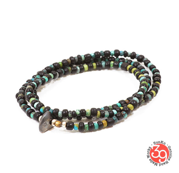 Sunku/39/サンクLTD-016 Antique Beads Necklace & Bracelet Black x Turquoise  アンティークビーズブレスレットNecklace/ネックレスSilver925/シルバー/BRASS/真鍮アンティーク/ターコイズ/Turquoiseアクセサリー Sunku/39(サンク)アンティークビーズネックレス&ブレスレット送料無料!手数料無料!【smtb-k】【kb】【EXTREME】