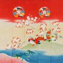 ショッピングのれん 超極細繊維メガネ拭き 花嫁のれんトレシー 山桜に鴛鴦(ヤマザクラニオシドリ)19×19cm