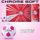 【限定品】2017新色キャロウェイ日本正規品CHROME SOFT TRUVIS (クロムソフト トゥルービス)ホワイト/ピンクゴルフボール「1ダース(12個入)」【あす楽対応】