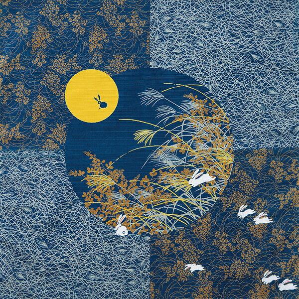 風呂敷 大判 月見うさぎ 綿シャンタンふろしき(黒)(118cm)日本製【風呂敷なら京都ふ…...:f-club:10002095