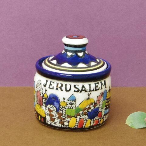 【陶器製 食器】 セイントエルサレム キャニスターポット Sサイズ 【パレスチナ エルサレム イメージ インテリア】【あす楽対応】