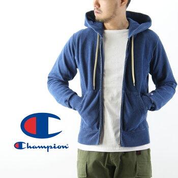 ChampionチャンピオンREVERSEWEAVEリバースウィーブジップフードパーカー(メンズインディゴ染め長袖羽織りC3-H102)