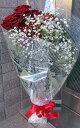 赤薔薇(レッドバラ)の花束10本とカスミソウ