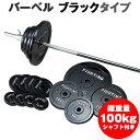 バーベル セット:ブラックタイプ 100kgセット / 筋トレ ベンチプレス トレーニング器具 筋ト...