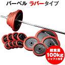 バーベル セット:ラバータイプ 100kgセット / 筋トレ ベンチプレス トレーニング器具 筋トレグッズ