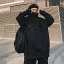 ショッピングタグ 【送料無料】【お取り寄せ品】インスタグラムで大人気!韓国 ストリートファッション 黒色 フリーサイズ レディース アウター コート ジャケット ハイネック トレーナー ダンス衣装