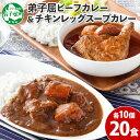 【ふるさと納税】528.北海道 ビーフカレー & チキンレッグ スープカレー 食べ比べ 20個 セッ