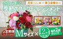 【ふるさと納税】456-001空間を彩る 季節のフラワーアレンジメント Mサイズ×毎月2回×12ヶ月(全24回)