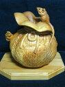 【ふるさと納税】飛騨一位一刀彫 桐箱入り 巾着に夫婦ねずみ(大) f119