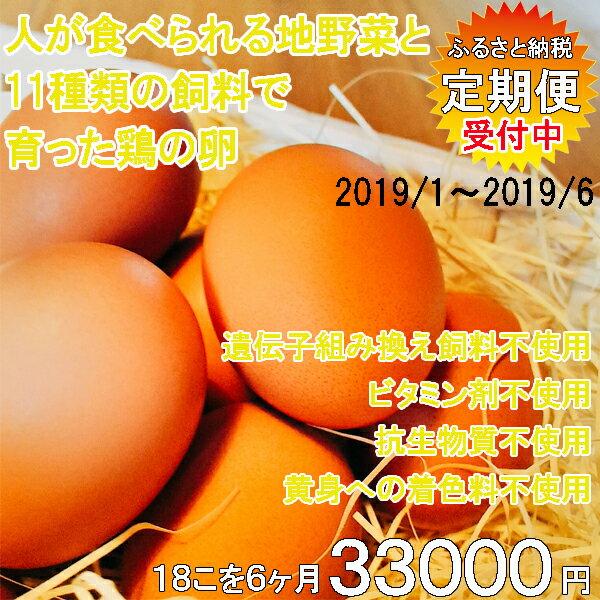 【ふるさと納税】地野菜育ちの平飼いタマゴ「遊鶏卵」18こ6か月セット 2019年01月発送開始