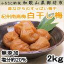 【ふるさと納税】紀州南高梅 白干梅(塩分20%) 2kg