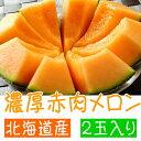 【ふるさと納税】【高級】 北海道産 濃厚赤肉メロン 2玉入り...