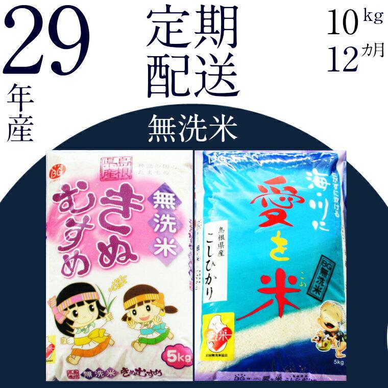 【ふるさと納税】BG無洗米(定期)きぬコシ 10kg/12ヵ月 米 無洗米 定期 島根県