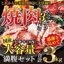 【ふるさと納税】<国産牛・豚たっぷり3kg満腹セット>※1?2か月以内に順次出荷となります 焼肉 花