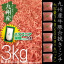 【ふるさと納税】<九州産牛・九州産豚合挽きミンチ3kg+塩>※平成30年9月末迄に順次出荷します! 500g×6 牛肉 豚肉 3000g ひ...