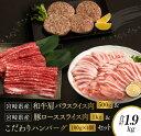 【ふるさと納税】宮崎県産和牛肩バラスライス肉500g&豚ローススライス肉1kg&こだわりハンバーグ(100g×4個)セット《合計1.9kg》