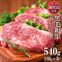 【ふるさと納税】鹿児島県産黒毛和牛ロースステーキ(計540g・180g×3P) 適度なサシで食べやす