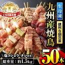 【ふるさと納税】 <九州産鶏肉>生冷凍焼鳥セット5種盛り合わせ(計50本・約1.5kg)もも・ももねぎ・とり皮・砂肝・ひなを串打ちしてそ..
