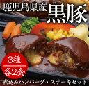 【ふるさと納税】温めるだけ♪鹿児島県産黒豚煮込みハンバーグ・ステーキセット【エーエフ】