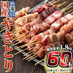 <先行予約受付中!2020年11月発送予定>国産やきとりセット(タレ付き・冷凍生)計60本約1.8kg!九州産の鶏肉を使用し姶良市で製造したもも串・皮串・ももネギマ串・砂肝串・ささみ串・豚バラ串の6種焼き鳥セット、豚バラ串