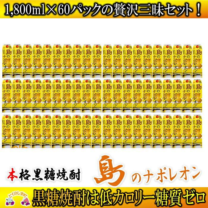 【ふるさと納税】奄美本格黒糖焼酎 島のナポレオン1,800mlパック 60本セット