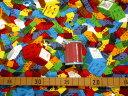 【キルト】★50cm単位続けてカット★カラフルブロックがいっぱい カラフル レゴ風柄