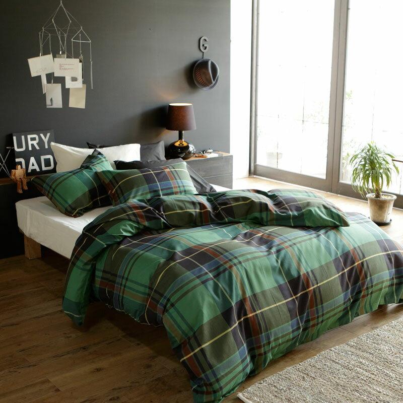 RoomClip商品情報 - 【Fab the Home】ハイランド/グリーン 布団カバーセット枕カバーM 2枚+掛け布団カバーD 1枚 先染ツイル