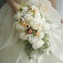 キャスケード ブーケ 結婚式 ウエディングブーケ 造花 シルクフラワー ガール 花束 フラワー ギフト インテリア おじゃれ