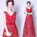 ショッピングウェディング カラードレス Vネック 金模様が華やか パーティードレス・リボン・赤  結婚式/パーティー/ロング/二次会 海外ウエディング 発表会 サイズXS〜XXXL 大きいサイズ 小さいサイズ
