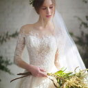 ウェディングドレス スリーブショール プリンセスラインドレス ロングテール 海外ウエディング サイズS~XL 結婚式/パーティー/ロング/二次会