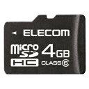 SDスピードクラス「class6」対応のmicroSDHCメモリーカード。エレコム microSDHCカード 4GB MF-MRSDH04GC6