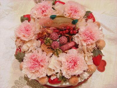プリザーブドフラワー  フラワーケーキ ピンク系【NEW】送料込・ポッキリ価格!! 美味しそうで思わず食べたくなっちゃいますよ~お祝い事の贈り物に大人気の商品です。