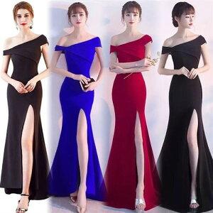 ドレス ロングドレス キャバドレス 斜めショルダー