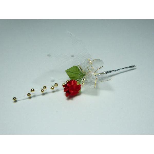造花・ギフト・フラワーブーケ バラ401金パールリボン「バレンタイン」 花束になったラッピングツール&ケーキピック