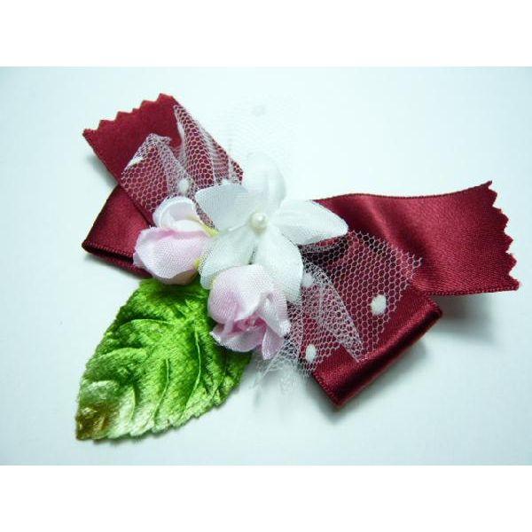 造花・胸花◆卒業式・入学式・卒園式・入園式◆リボンコサージュ ワインのリボン
