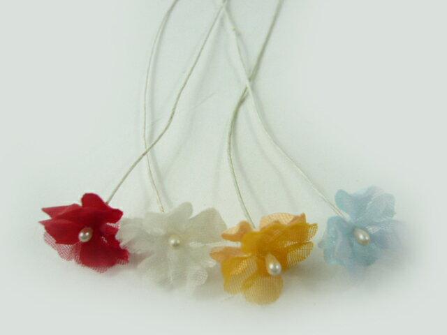 ヘアーアクセサリー・造花◆髪飾りを作る小さな造花・2枚べた207(1本)★使い方を動画で紹介★アウトレット・超特価