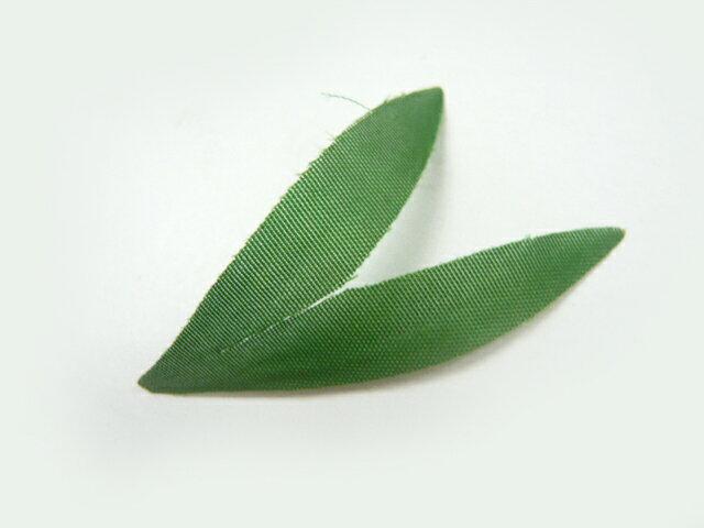 造花・葉◆二股リーフ タフタ緑(1枚)