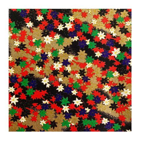 和紙 金紅葉文様紅 ラッピングや和紙工芸 和紙人形 和紙の花やちぎり絵に使いやすい千代紙の大きさにカット