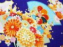 ちりめん生地・和布・古布・はぎれ◆一越ちりめん友禅花柄 扇に菊(濃江戸紫)3D(10cm)