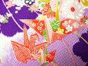 ちりめん生地・和布・古布・はぎれ◆一越ちりめん友禅 亀甲折鶴と鞠 紫紺(紫) HY05-B(10cm)