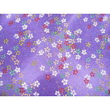 ちりめん生地・和布・古布・はぎれ◆ちりめん細工の髪飾り♪レーヨンちりめん生地桜吹雪金彩GN-64/7紫