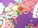 ちりめん生地 和布 古布 はぎれ◆レーヨンちりめん友禅昭和レトロな大柄な花柄 紫 YS05-02(10cm)
